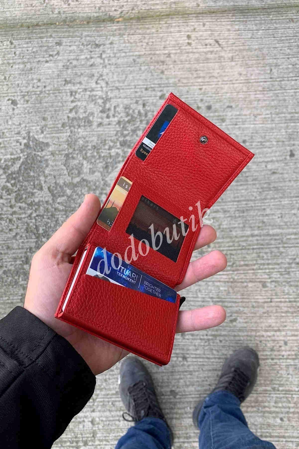 Hakiki Deri Kırmızı Akıllı Cüzdan WP5550