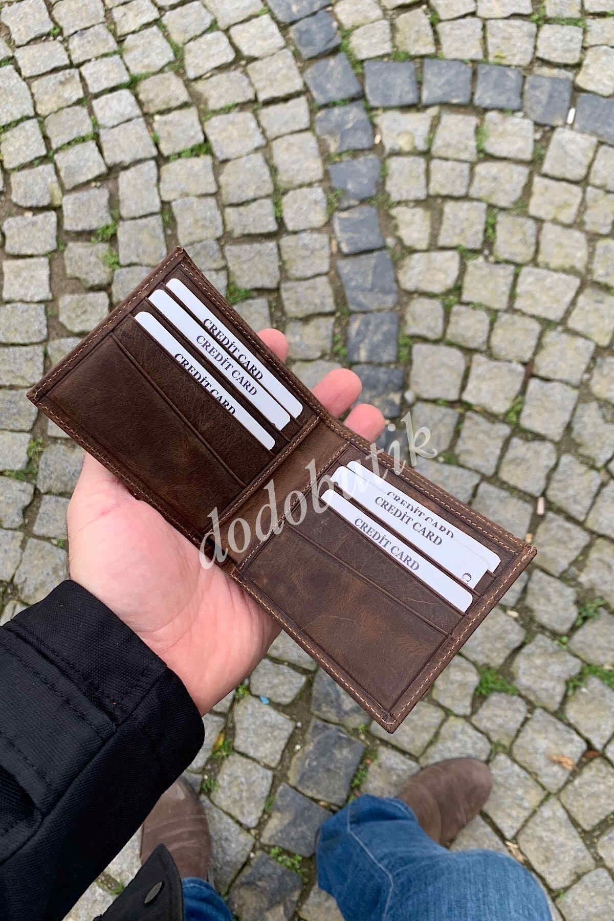 Kahverengi Hakiki Deri Tarz Cüzdan 595C
