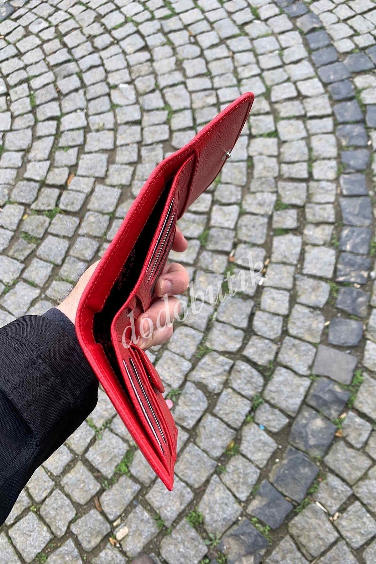 Kırmızı Bayan Hakiki Deri Cüzdan 423