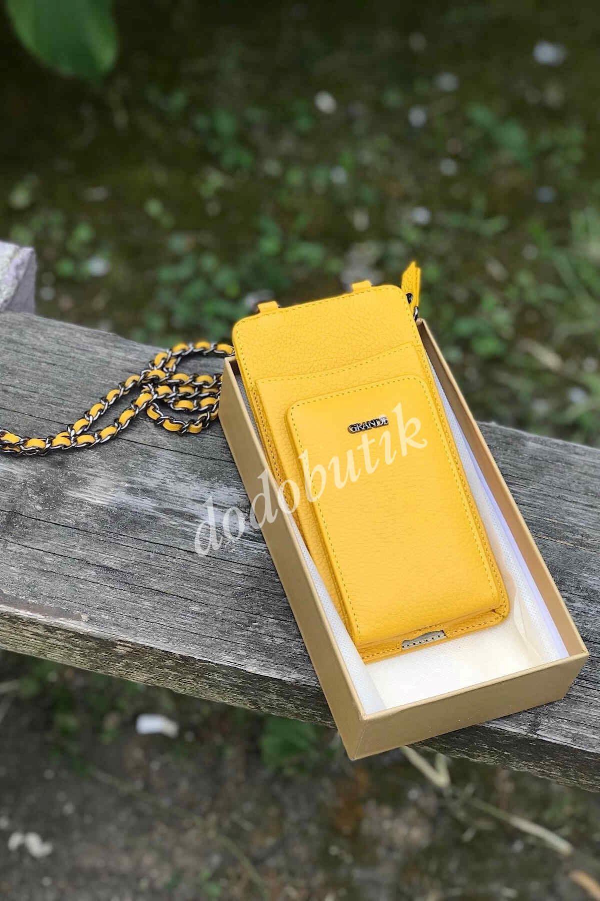 Hakiki Deri Sarı Telefon Çantası G - 2783